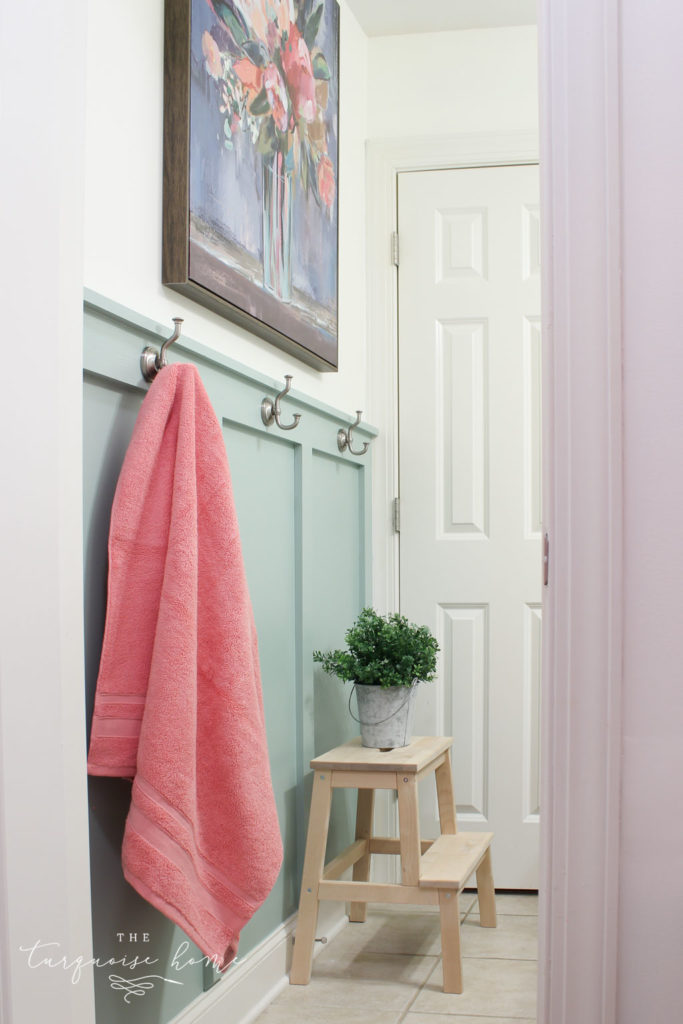 Beautiful board and batten in a bathroom - in a rush color called Wythe Blue. #wytheblue #benjaminmoore #paintcolors