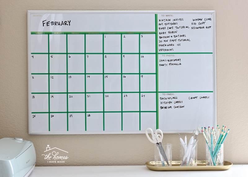 Dry Erase Calendar With Washi Tape