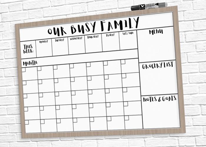 Dry Erase Family Calendar Printable