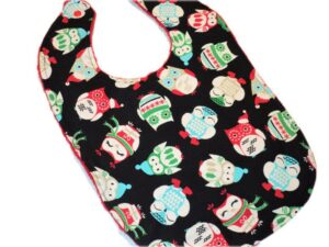 Custom holiday owls baby's first Christmas bib