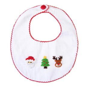 Custom French knot baby's first Christmas bib