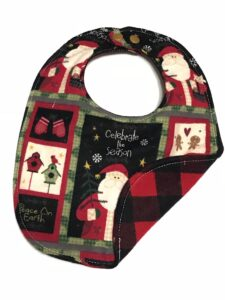 Custom buffalo plaid baby's first Christmas bib