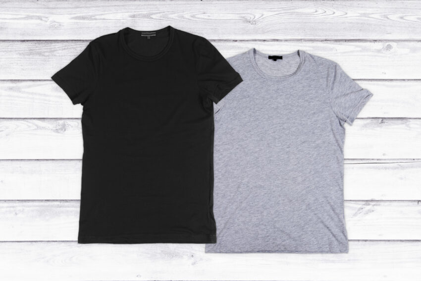 2 gray undershirts showcasing how to know if you should wear an undershirt or not