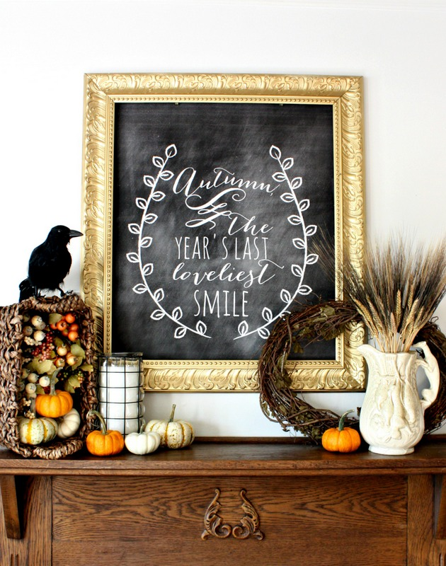 fall mantle chalkboard decor