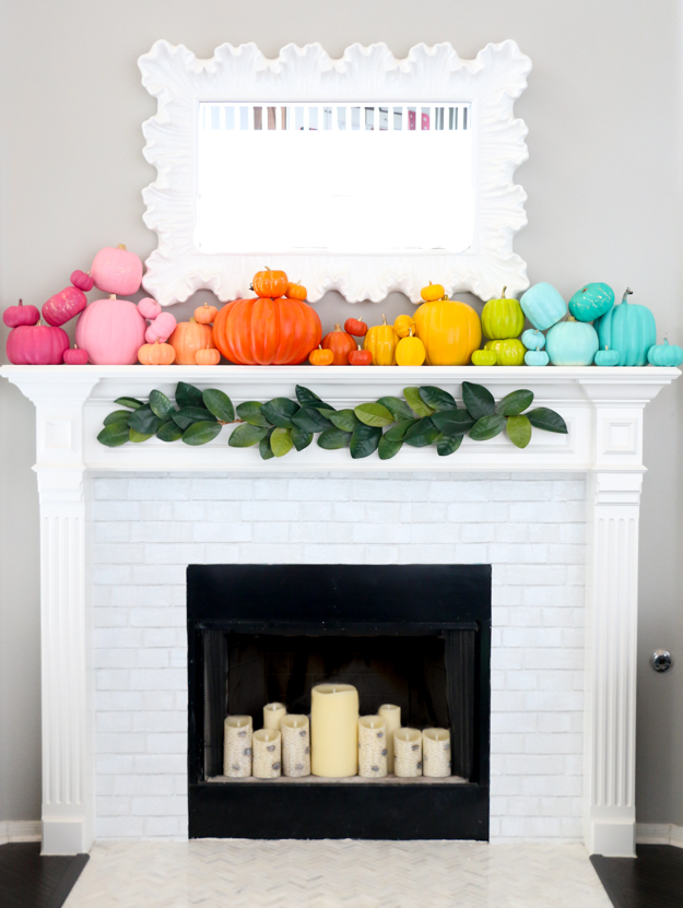 rainbow pumpkins on mantle
