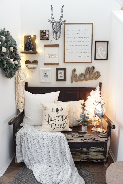 Decorate with white on white with a twist of rustic farmhouse for Christmas.