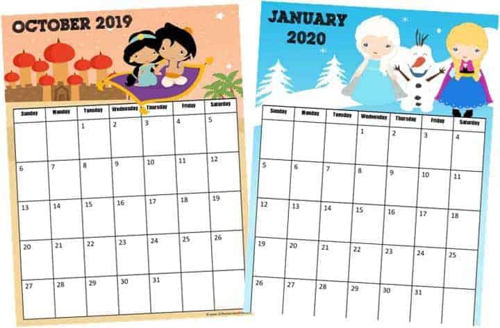 free printable calendar for kids with disney princesses