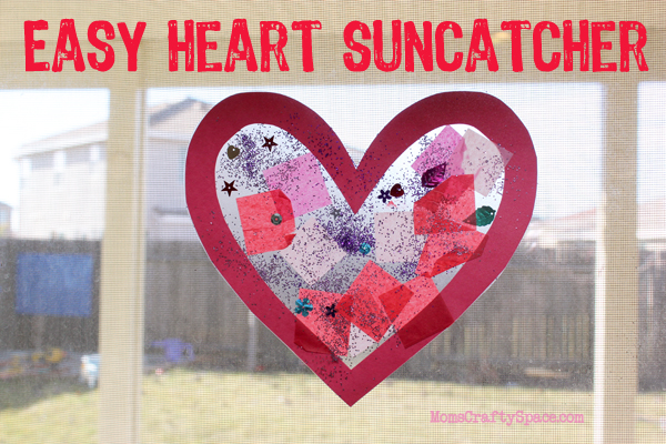 This easy suncatcher is a great Valentine's Day craft for preschoolers