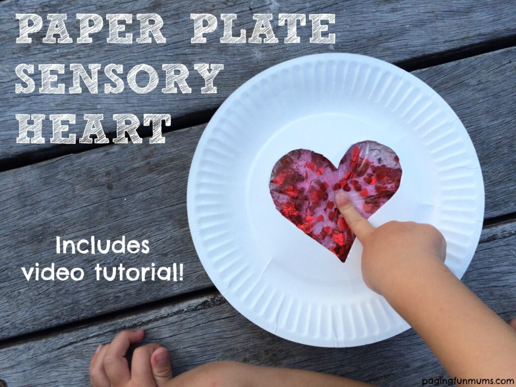 This paper plate sensory heart makes a great Valentine's Day craft for preschoolers