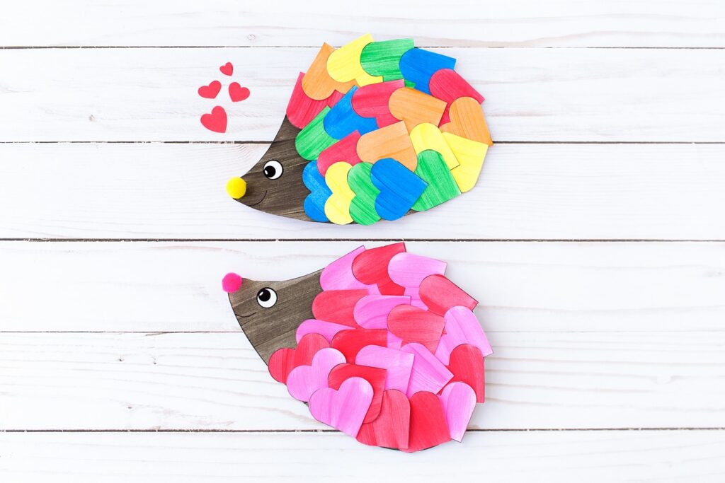 This hedgehog craft makes a perfect preschool Valentine's craft
