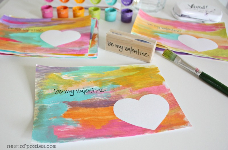 these watercolor valentines make great preschool Valentine's Day crafts