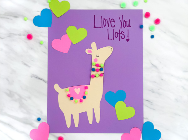 This llama craft makes a great preschool Valentine's craft