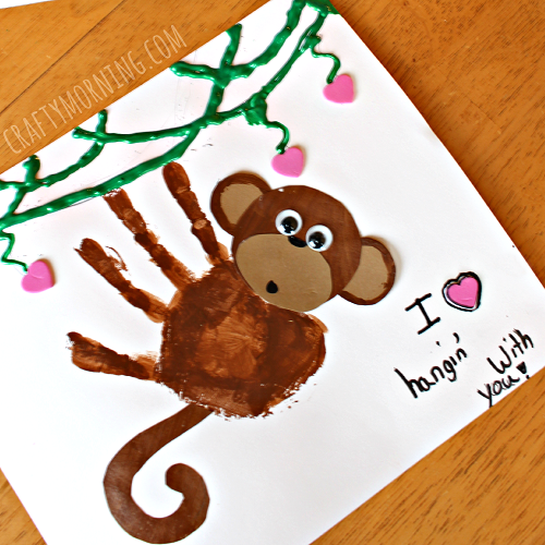 Cute handprint monkey Valentine's Day craft for toddlers