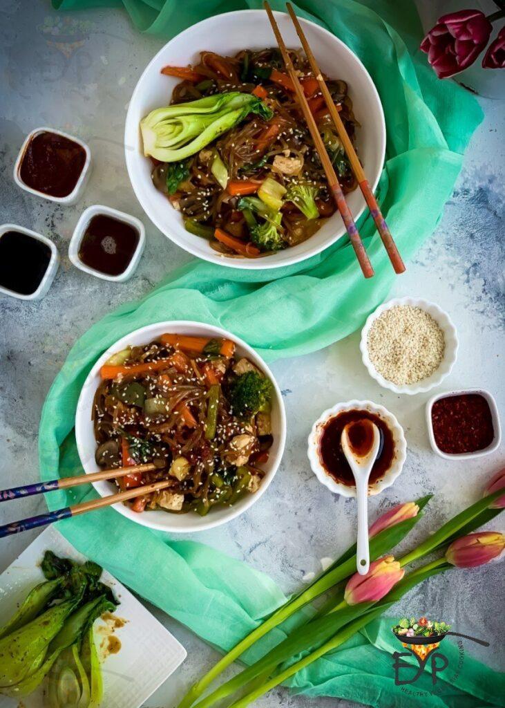 vegan japchae Korean glass noodles
