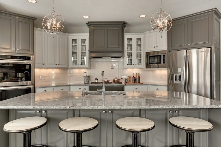 Kendall Charcoal kitchen cabinets with cream kitchen cabinets and Crystorama Solaris 3 Light Mini Chandeliers