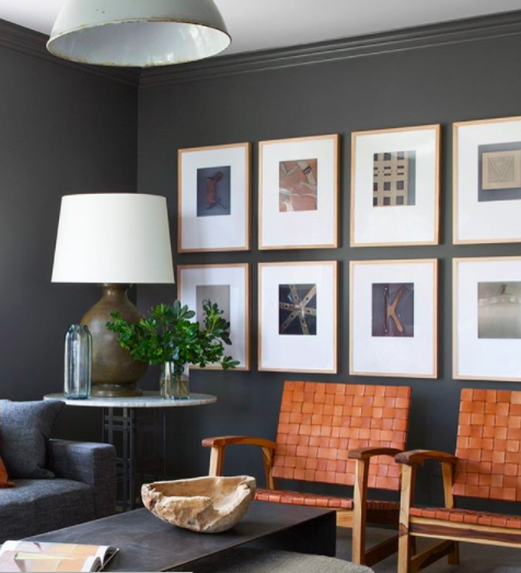 Kendall charcoal in the office with a gallery wall