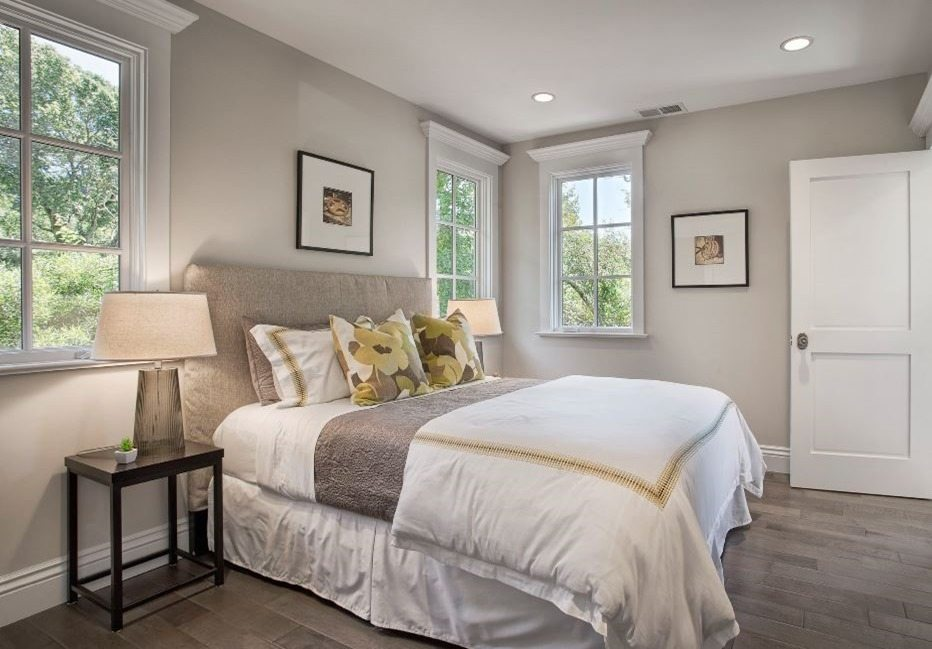 The bedroom painted with Edgecomb Gray