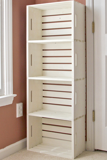 Easy Office Organization Ideas - crate bookshelf storage