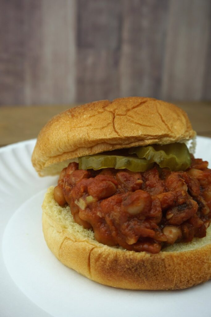 Instant Pot vegan sloppy joes on a bun