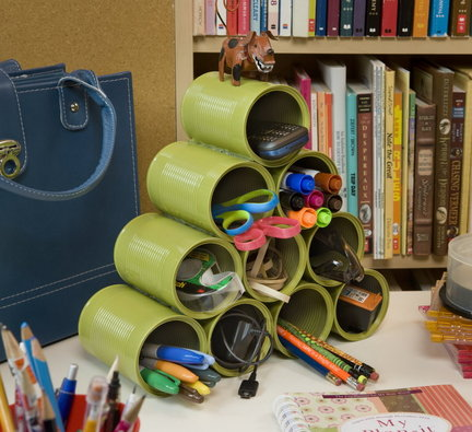 Easy Office Organization Ideas - stacking pen holders