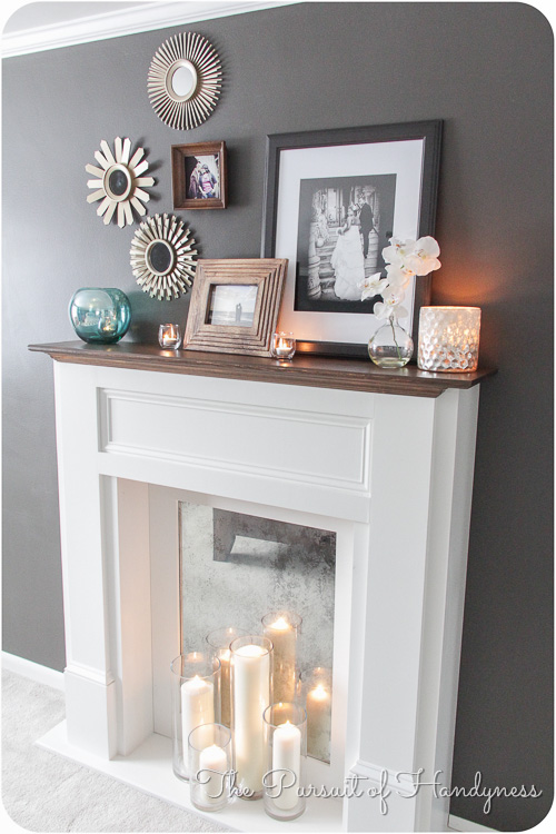 elegant DIY fireplace with candles