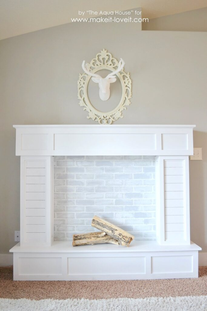 all white moveable faux fireplace