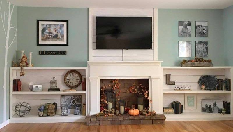 full wall DIY fireplace