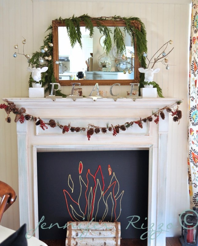 Fake fireplace with crafty string flame outline