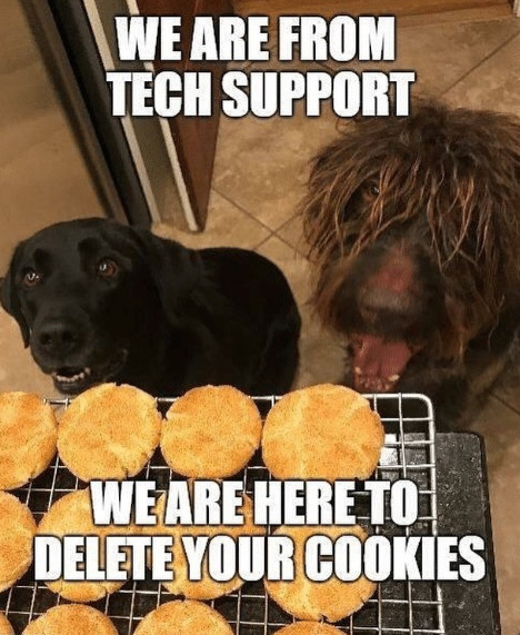 dogs looking at cookies coming out of the oven