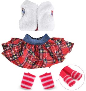 Elf on the Shelf Clothes: Trendy fluffy vest and plaid skirt outfit